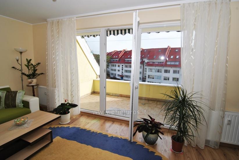 Dwa pokoje mieszkanie w centrum Nidy z dużym balkonem, 2 telewizory - 2