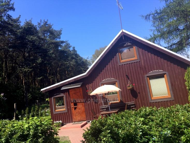 Przytulny drewniany dom do wynajęcia w Smiltynė, w środku sosnowego lasu